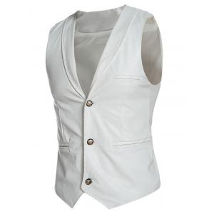 Shawl Collar Slim Fit PU Vest -