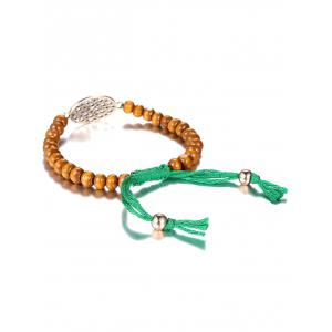 Adjustable Rope Hollow Out Bead Bracelet - BROWN