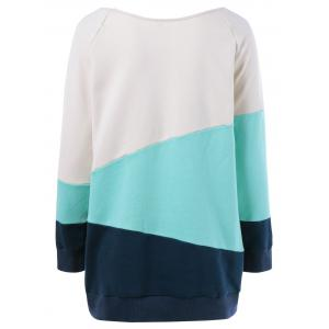 Raglan Sleeve Spliced Sweatshirt -