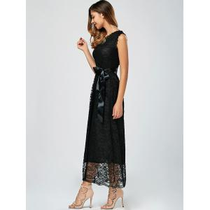 Long Sleeveless Lace A Line Party Dress - BLACK M