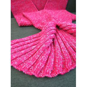 Warmth Crochet Knitted Mermaid Tail Blanket - ROSE RED W31.50INCH*L70.70INCH