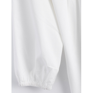 Plus Size Embroidered Fringed Blouse - WHITE 5XL