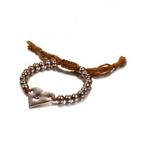 Ethnic Woven Bead Heart Bracelet - COFFEE AND GOLDEN