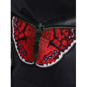 Embroidered Zippers PU Leather Jacket -