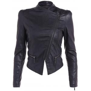 Chic Pure Color Zipped Jacket For Women -