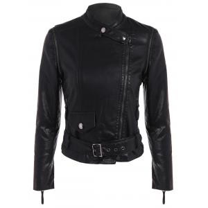 Stylish Pure Color Belted Jacket For Women -