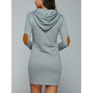 Kangaroo Pocket Hoodie Dress with Elbow Patch - BLUE GRAY XL