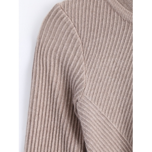 Peplum Ribbed Slim Sweater -