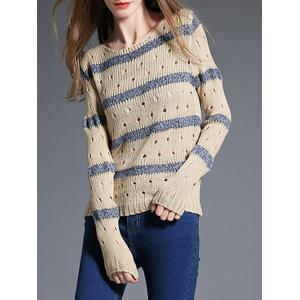 Fitting Cut Out Striped Knitwear -