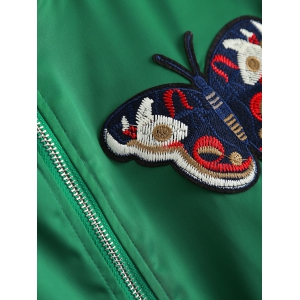 Plus Size Butterfly Embroidered Bomber Jacket -