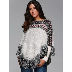 Warm Wave Stripe Tassel Cloak Sweater - WHITE ONE SIZE