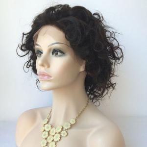 Short Wave Lace Front Human Hair Wig - BLACK