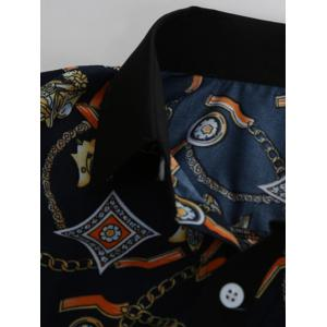 Slim-Fit 3D Vintage Printed Shirt - CADETBLUE 2XL