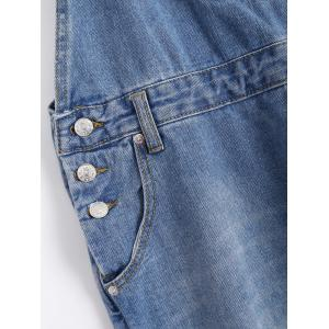 Pocket Design Broken Hole Denim Overalls -