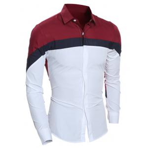 Slim Long Sleeve Color Block Shirt - WINE RED 2XL