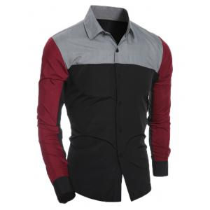 Slim Long Sleeve Spliced Shirt -