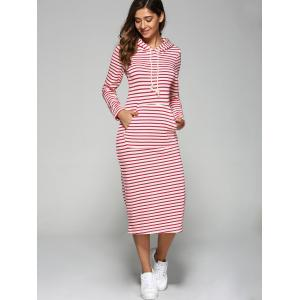 Hooded Striped Pocket Design Dress - RED L