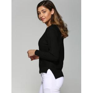 Asymmetrical Side Slit Textured Sweater - BLACK ONE SIZE