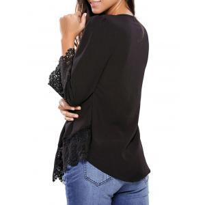Lacework Splicing Single-Breasted Blouse - BLACK L