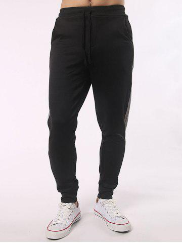 Fancy Drawstring Contrast Paneled Joggers Pants BLACK 4XL