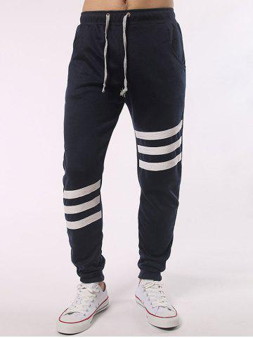 Outfits Stripe Insert Drawstring Jogger Pants CADETBLUE 5XL