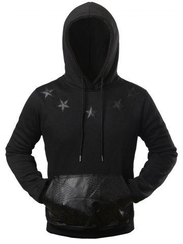 Outfits Texture Pocket Star Patched Drawstring Hoodie