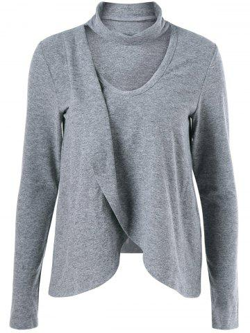 Chic Cut Out Asymmetrical Heathered Blouse