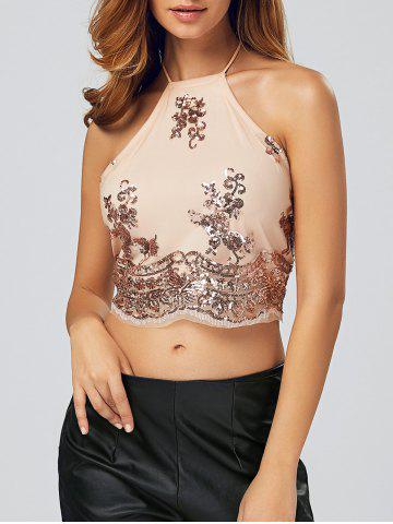 Sale Sequined Lace-Up Backless Crop Top