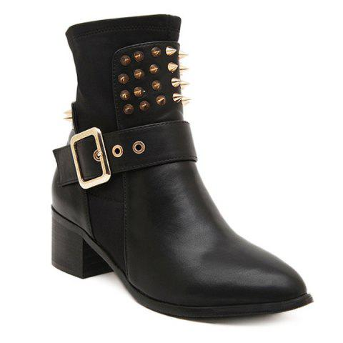 Fashion Punk Buckle Studded Chunky Heel Boots BLACK 38