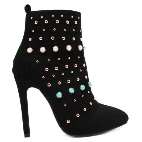 Rivet Beaded Pointed Toe Stiletto Heel Boots - Black - 40