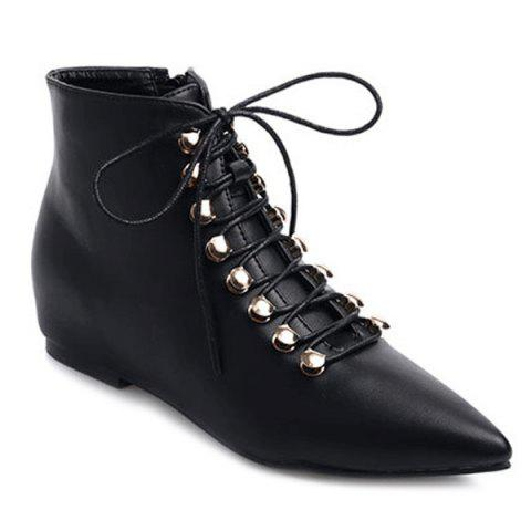 Online Metal Lace-Up Pointed Toe Hidden Wedge Boots