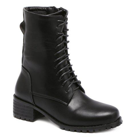 Shops Mid-Calf Chunky Heel Lace-Up Combat Boots