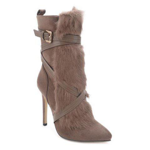 Discount Furry Cross-Strap Stiletto Heel Boots KHAKI 39