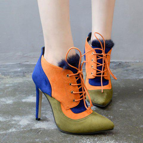 Discount Lace-Up Pointed Toe Color Block Ankle Boots BLUE 38