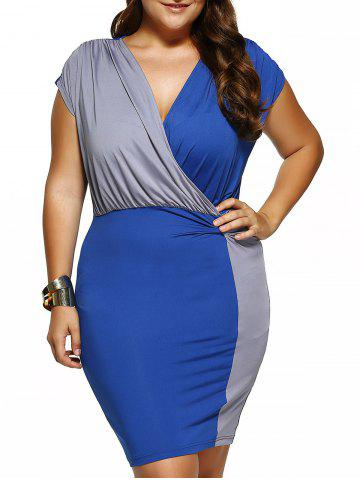 Fancy Plus Size Draped Surplice Bodycon Dress