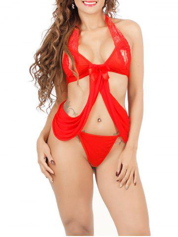Chic Halter Lace Spliced String Bra and Thong Set