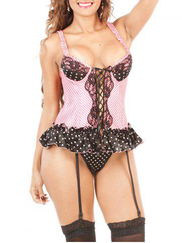Latest Polka Dot Lace-Up Corset PINK 2XL