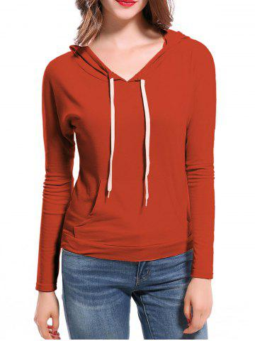 Shops Candy Color Hooded Long Sleeve Hoodie