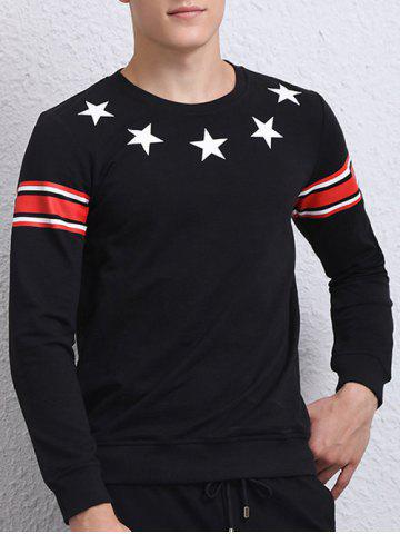 Unique Star Printed Long Sleeve Crew Neck Sweatshirt BLACK XL