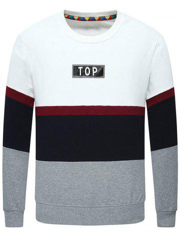 Latest Stripe Insert Long Sleeve Crew Neck Sweatshirt