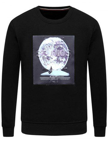 Fancy 3D Planet Pattern Crew Neck Fleece Sweatshirt