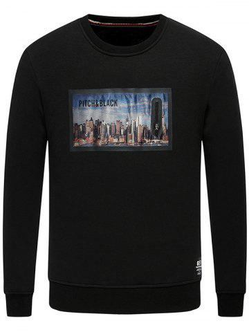 Chic Building Printed Crew Neck Fleece Sweatshirt