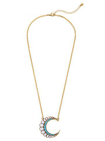 Fancy Fake Crystal Moon Pendant Necklace