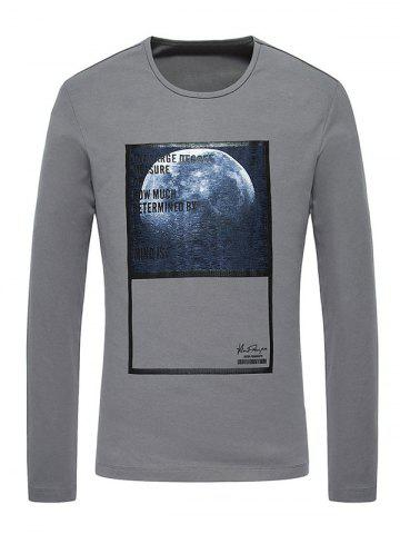 Fancy 3D Moon Print Crew Neck Long Sleeve T-Shirt