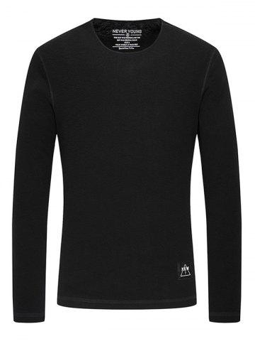 Shops Rib Crew Neck Long Sleeve T-Shirt BLACK 3XL