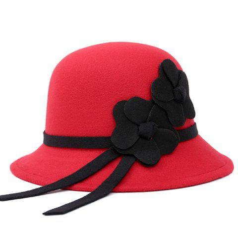 Trendy Dome Faux Wool Felt Floral Strappy Fedora Hat RED