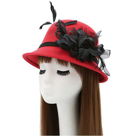 Fancy Feather Mesh Yarn Dome Faux Wool Fedora Hat RED
