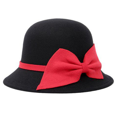 Discount Bowknot Strappy Dome Fedora Hat - BLACK  Mobile