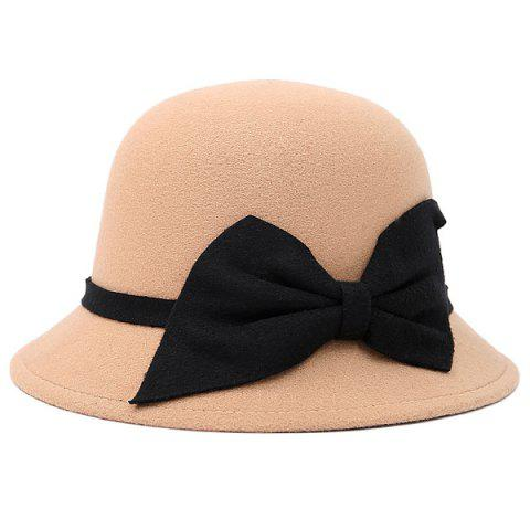 Bowknot Strappy Dome Fedora Hat - BEIGE