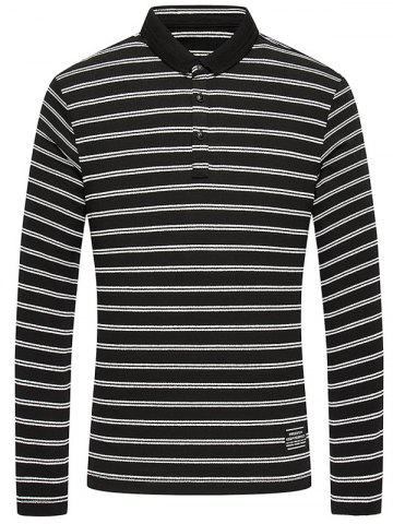 Buy Long Sleeve Button Up Striped Polo Shirt
